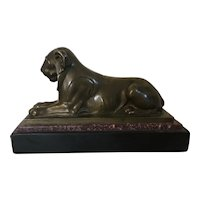 Antique Early 19th century Grand Tour French Empire Bronze Model of the Egyptian Capitoline Lion on a Slate & Porphyry Base circa 1810