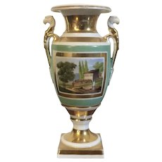 Small Antique Early 19th century French Empire Paris Porcelain Urn Vase Decorated with Landscape Scene and Trophies 1820