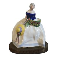 French Art Deco 1920's Porcelain Perfume Burner in the Form of a Lady of the Antebellum South Mounted as a Table Lamp Signed Gazan