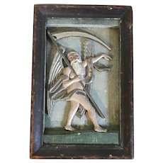 Antique 18th century Northern European German Carved Wood & Paint Decorated Religious Church Wall Plaque Father Time Grim Reaper Masonic Freemasons