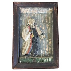 Antique 18th century Northern European German Carved Wood & Paint Decorated Religious Church Wall Plaque Saint Homobonus Masonic Freemasons