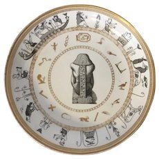 Antique Early 19th century French Empire Paris Porcelain Plate or Low Bowl in the Egyptian Revival Taste Decorated with Pharaoh & Hieroglyphs