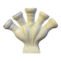 Antique 18th century English Neoclassical George III Staffordshire Creamware Five Finger Posy Holder Tulip Flower Vase