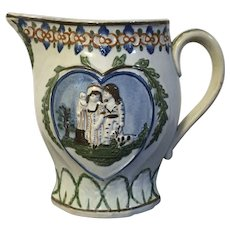 Antique 18th century Pearlware Prattware Pitcher Jug with Images of Young Love and the Family