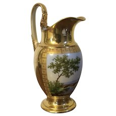 Antique Early 19th century French Empire Paris Porcelain Jug or Pitcher Decorated with Hand Painted Landscape