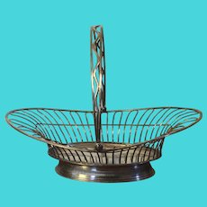 Antique English George III Old Sheffield Silver Plate on Copper Cake or Bread Basket Late 18th century