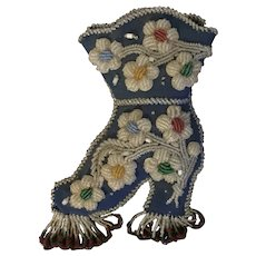 Antique 19th century Native American Indian Shoe Form Wall Pocket Decorated with Glass Trade Beads