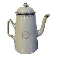 Large Antique 19th century Chinese Export Porcelain Coffee Pot for the American Federal Market 1810