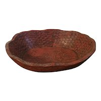 Antique Japanese Red Lacquer Carved Wood Basketweave Centerpiece Bowl