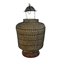 Antique Late 19th / Early 20th century Japanese Paper & Iron Hanging Lantern circa 1900