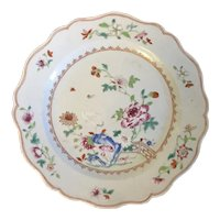 Antique 18th century Chinese Export Porcelain Plate in Famille Rose Palette Decorated with a Bird and Peonies