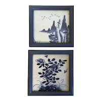 Pair Antique 19th century Chinese Blue & White Porcelain Framed Wall Plaques