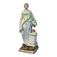 Antique Early 19th century Georgian Staffordshire Pearlware Figure of Hygieia, Greek Goddess of Good Health