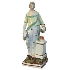Antique Early 19th century Georgian Staffordshire Pearlware Figure of Hygieia, Greek Goddess of Good Health