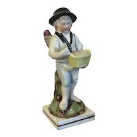Antique Early 19th century English Georgian Staffordshire Pearlware Figure of a Bread Seller with Angel Wings