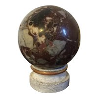 Grand Tour Specimen Marble Sphere or Ball on Carved & Gilt Wood Stand