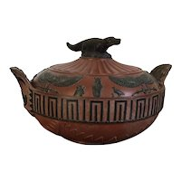 Antique Early 19th century English Regency Wedgwood Rosso Antico Egyptian Revival Sugar Bowl with Nile Crocodile Cover