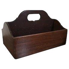 Antique Early 19th century English Georgian Mahogany Desk Box Caddy or Deep Cutlery Tray 1820's