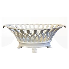 Antique 19th century French Empire Paris Porcelain Corbeille or Navette Shape Reticulated Basket with Lion Paw Feet