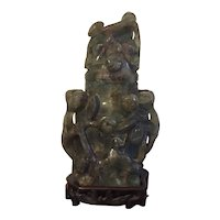 Large Antique 19th century Chinese Carved Green Quartz Urn Vase and Cover with Custom Wood Stand