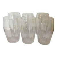 Set 6 Antique English Regency 19th century Anglo Irish Glass Large Thumb Cut Crystal Ale or Water Glasses