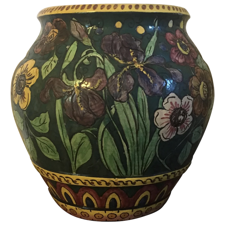 Large Early 20th Century Italian Art Pottery Urn Or Floor Vase Hand Classic Tradition Ruby Lane
