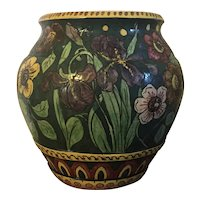 Large Early 20th century Italian Art Pottery Urn or Floor Vase Hand Painted with Flowers