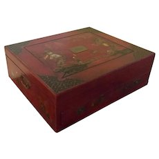 Large Antique 19th century English Scarlet Red Lacquer Chinoiserie Chest, Box or Casket for Silver, Jewelry Decorated with Chinese Figures