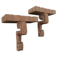 Pair Art Deco Hollywood Regency Carved & Limed Wood Wall Brackets or Display Shelves 1930