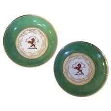 Pair Antique Early 19th century Worcester Flight, Barr & Barr Masonic Armorial Crested Porcelain Saucer Dishes