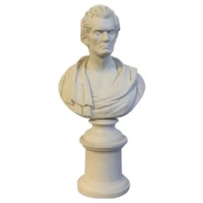 Antique Early 19th century American Empire Parian Porcelain Portrait Bust Sculpture of Senator John C. Calhoun after Hiram Powers