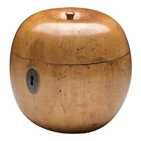 Antique 18th century English George III Fruitwood Apple Form Treen Tea Caddy