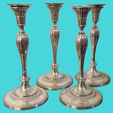 Rare Set Four 4 Antique English George III Old Sheffield Silver Plate on Copper Candlesticks in the Neoclassical Taste - 19th century