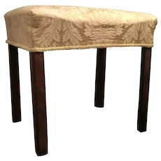 Antique 18th century English George III Chippendale Mahogany Upholstered Bench Stool 1780
