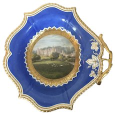 Antique Early 19th century English Regency Worcester Porcelain Dessert Dish Bowl with Topographical Landscape of Cobham Hall the Seat of the Earl of Darnley in Kent
