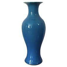 Antique Late 19th century Chinese Monochrome Baluster Shape Vase in Turquoise Glaze