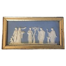 Antique Early 19th century English Georgian Solid Light Blue Wedgwood Jasperware Neoclassical Plaque in Gilt Wood Frame