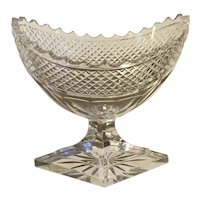 Antique 19th century Georgian Anglo Irish Glass Ovoid Shape Footed Compote Bowl Cut Crystal