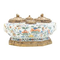 Large Antique 18th century French Rouen Tin Glaze Faïence Polychrome Octagonal Inkwell Mounted in Gilt Bronze Delft