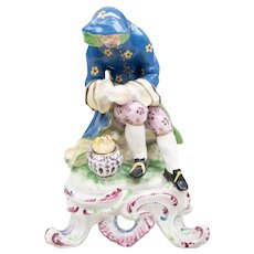 Antique 18th century English George III Bow Porcelain Seasons Figure Emblematic of Winter 1765