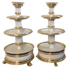 Pair Antique Early 19th century French Empire Old Paris Porcelain Four Tier Dessert Tazza Hors d'oeuvres or Cake Stand in White & Gold