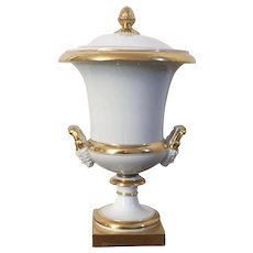 Antique Early 19th century French Empire Paris Porcelain Urn Vase Form Wine or Fruit Cooler Ice Pail with Cover & Liner