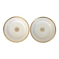 Pair French Empire Paris Porcelain Round Platters or Chargers Decorated with Gold Flower Head on White Ground Early 19th century