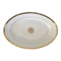 Large French Empire Paris Porcelain Oval Platter Decorated with Gold Flower Head on White Ground Early 19th century