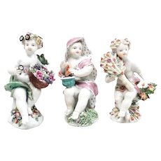 Trio of Antique 18th century English Bow Porcelain Figures Emblematic of the Seasons - Spring, Autumn and Winter