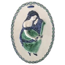 Antique 18th century English Georgian Staffordshire Pearlware Prattware Oval Wall Plaque