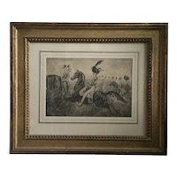 Constantine Guys (1802 - 1892) French Belle Epoque Drawing of Napoleonic Soldiers on Horse Back French Matted Under Glass in Carved Gilt Wood Frame