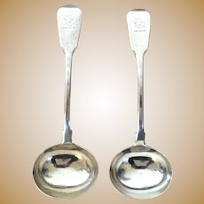 Pair Antique English Georgian Silver Gravy Ladles Engraved with Mermaid Crest and Hallmarked William Chawner London 1810
