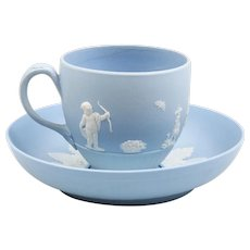 Antique 18th century Wedgwood Blue Jasperware Tea Cup & Saucer by Lady Templeton