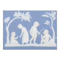 Antique Wedgwood Pale Blue Jasperware Rectangular Wall Plaque, Late 18th century - Lady Templeton